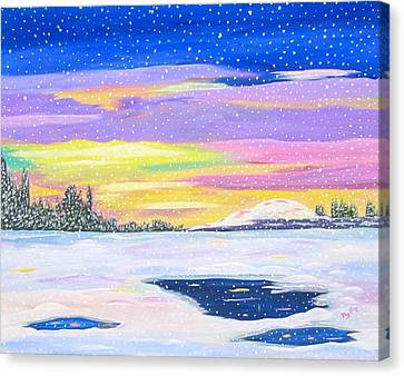 Canvas Print featuring the painting Snowstorm by Phyllis Kaltenbach