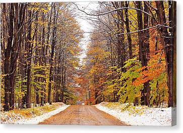 Autumn Landscape Canvas Print - Snowy Autumn Wonderland by Terri Gostola