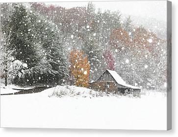 Snowy Barn Canvas Print by Benanne Stiens