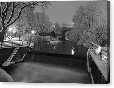 Snowy Night Night Canvas Print - Snowy Bear River by Russell Todd