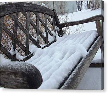 Snowy Bench Canvas Print by Ali Dover