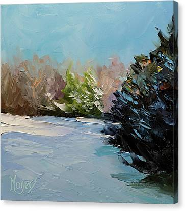 Snowy Bend Canvas Print by Mike Moyers
