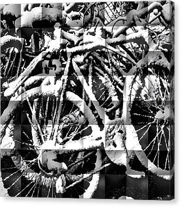 Snowy Bike Canvas Print
