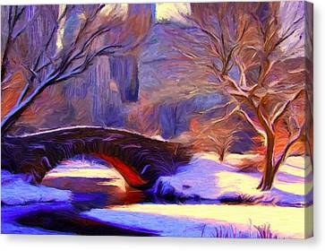Snowy Central Park Canvas Print by Caito Junqueira
