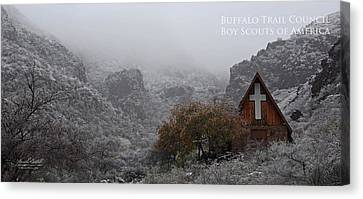 Snowy Chapel Canvas Print by Aaron Bedell