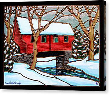Snowy Covered Bridge Canvas Print by Jim Harris