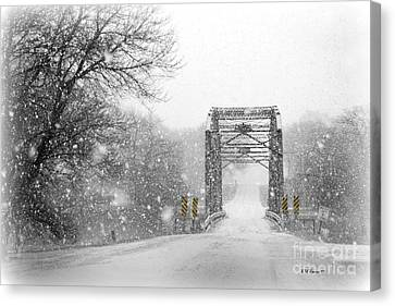 Snowy Day And One Lane Bridge Canvas Print by Kathy M Krause