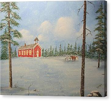 Snowy Day At School Canvas Print