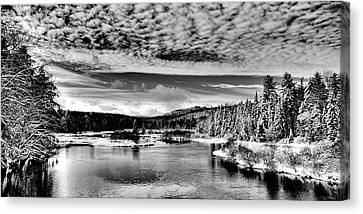 Snowy Day At The Green Bridge Canvas Print by David Patterson