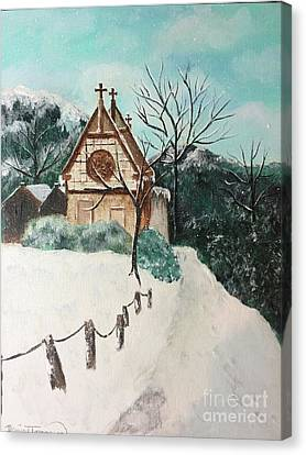 Canvas Print featuring the painting Snowy Daze by Denise Tomasura