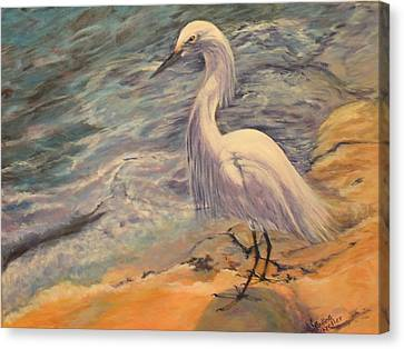 Snowy Egret Canvas Print by Pauline  Kretler