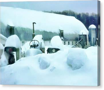 Barn Storm Canvas Print - Snowy Farm by Jenn Teel