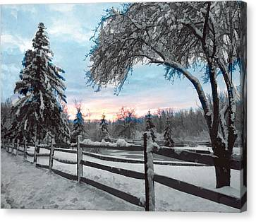 Snowy Fence And Pasture Canvas Print by Elaine Plesser