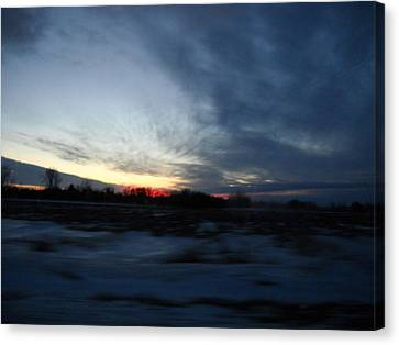 Snowy Field And Red Dusk Canvas Print by William Helzer