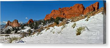 Canvas Print featuring the photograph Snowy Fields At Garden Of The Gods by Adam Jewell