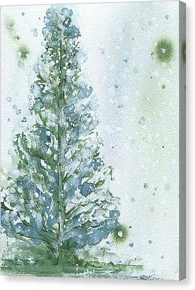 Canvas Print featuring the painting Snowy Fir Tree by Dawn Derman