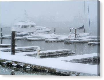 Snowy Harbor Canvas Print by Ania M Milo
