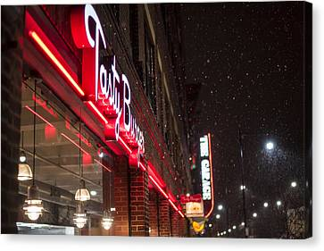 Snowy Harvard Square Night- Tasty Burger And The Garage Canvas Print