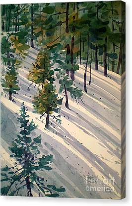 Snowy Hillside Canvas Print by Donald Maier