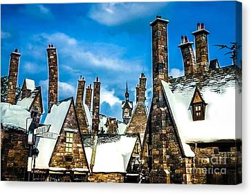 Snowy Hogsmeade Village Rooftops Canvas Print by Gary Keesler