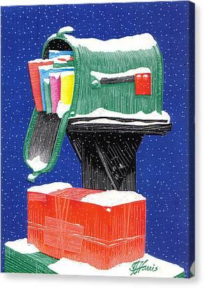 Snowy Mailbox Collage Canvas Print by Jim Harris