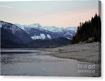 Canvas Print featuring the photograph Snowy Mountains by Victor K