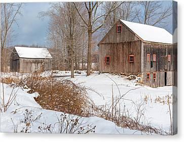 Snowy New England Barns 2016 Canvas Print by Bill Wakeley