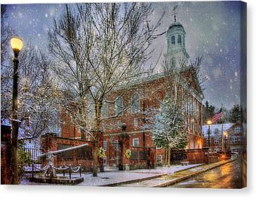 Snowy New England Morning In Peterborough New Hampshire Canvas Print by Joann Vitali