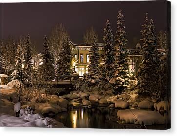 Snowy Night Along Blue River Canvas Print