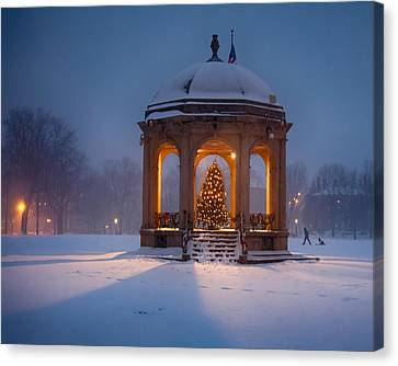 Snowy Night On The Salem Common Canvas Print by Jeff Folger