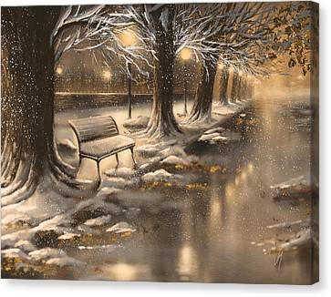 Snowy Night Night Canvas Print - Snowy Night by Veronica Minozzi