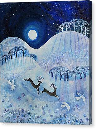 Snowy Night Night Canvas Print - Snowy Peace by Lisa Graa Jensen