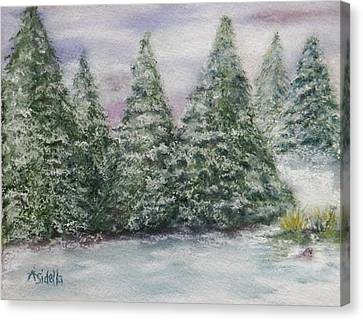 Snowy Pines Canvas Print by Annamarie Sidella-Felts