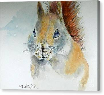 Snowy Red Squirrel Canvas Print