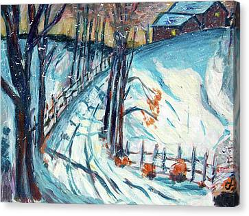 Snowy Road Canvas Print by Carolyn Donnell