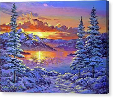 Snowy Road Canvas Print by David Lloyd Glover