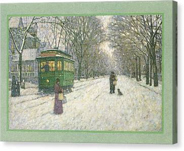 Snowy Scene With Old Fashioned Canvas Print