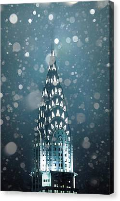 Chrysler Building Canvas Print - Snowy Spires by Az Jackson