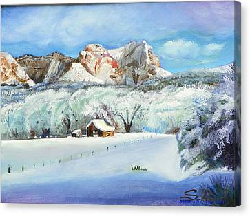 Snowy Sugar Knoll Canvas Print by Sherril Porter