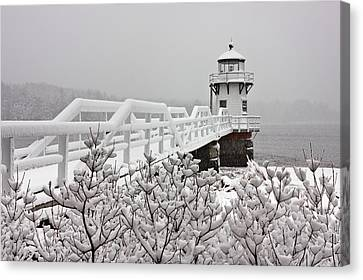 Snowy Sunday At Doubling Point Lighthouse Canvas Print