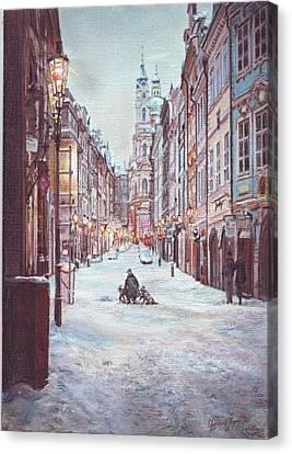 snowy Sunday night in Prague Canvas Print by Gordana Dokic Segedin