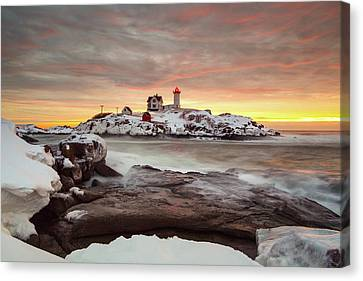 Nubble Lighthouse Canvas Print - Snowy Sunrise by Christopher Georgia