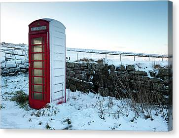 Snowy Telephone Box Canvas Print