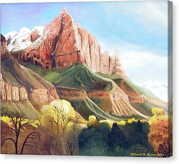 Canvas Print featuring the painting Snowy Zion's Watchman by Sherril Porter