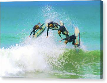 Clemente Canvas Print - So Close Reverse Stopmotion Surfing Watercolor by Scott Campbell