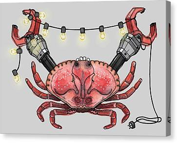 Warped Canvas Print - So Crabby Chic by Kelly Jade King
