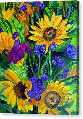 Sunflowers -soaking Up Sunshine Canvas Print by Julie Brugh Riffey