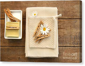 Soap Clothespins And Towels  Canvas Print by Sandra Cunningham