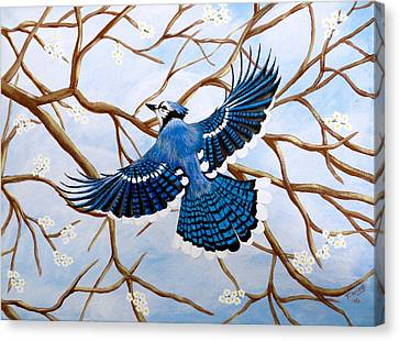 Canvas Print featuring the painting Soaring Blue Jay  by Teresa Wing