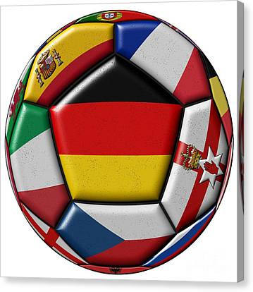 European Championship Canvas Print - Soccer Ball With Flag Of German In The Center by Michal Boubin